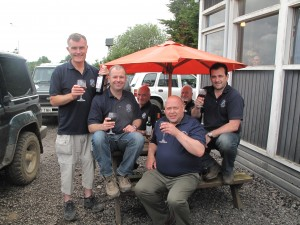 Gary McCann of Police Sport UK (Clay shooting section) together with the winning Lincolnshire force team of  Steve Smith,  Mark Marsden, B. Manson, A. Harwood & D. Harwood enjoying a celebratory glass of champagne. July 7th 2012